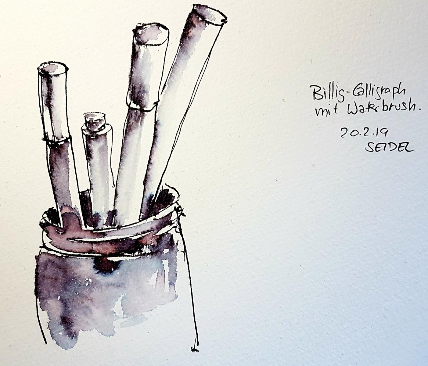 """Biilig""Calligraphfüller aus dem Drogeriemarkt, Brushpen, Aquarellpapier, Feb 2019"