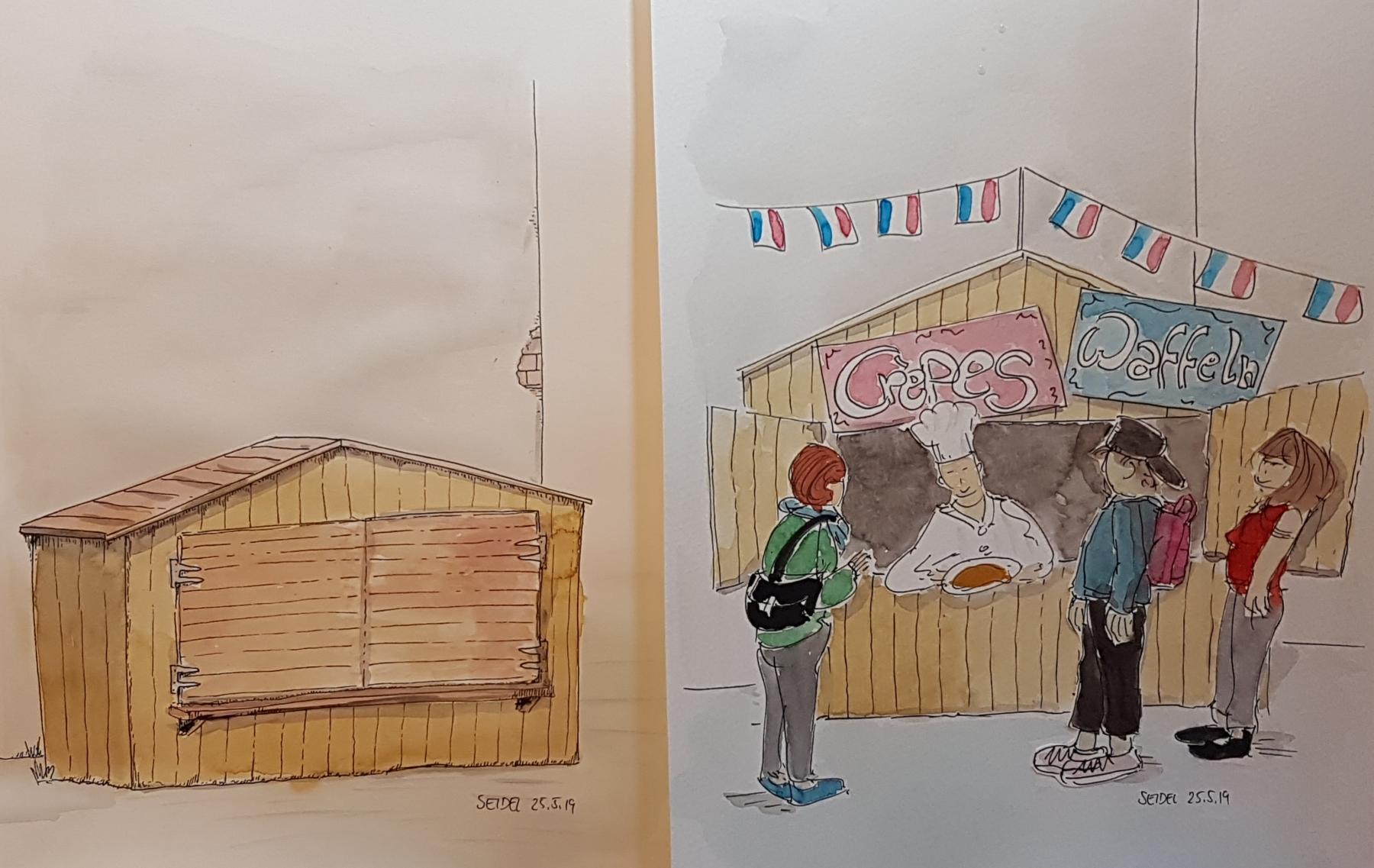 Hütte auf einem Schulhof einer Potsdamer Medienschule - Im Sommer vielleicht ein Crépes-Stand...?