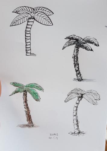 Palmen Fineliner, Füller, Farbstifte für Dino-Szenen 4. Klasse